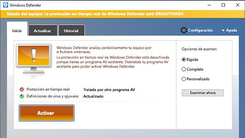 analizar un elemento con windows defender