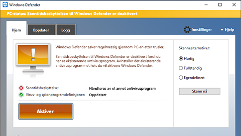 skanne et element med windows defender
