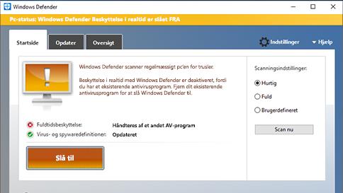 scan et element med windows defender