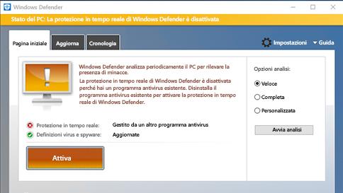 analizzare un elemento con windows defender