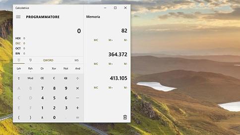 novità della calcolatrice in windows 10
